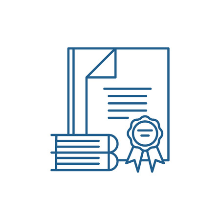 Certification process line concept icon. Certification process flat  vector website sign, outline symbol, illustration.