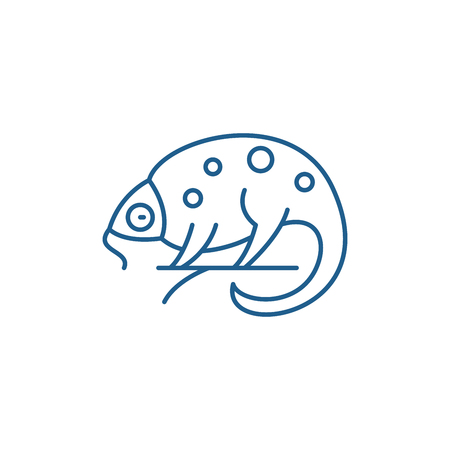 Chameleon line concept icon. Chameleon flat  vector website sign, outline symbol, illustration.