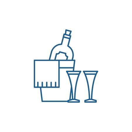 Champagne line concept icon. Champagne flat  vector website sign, outline symbol, illustration.