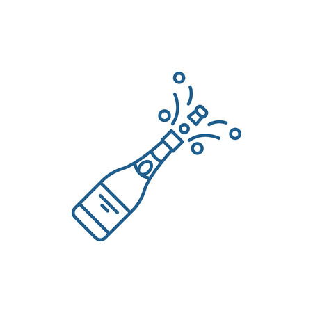 Champagne opening line concept icon. Champagne opening flat  vector website sign, outline symbol, illustration. Illustration