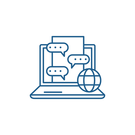 Chat messenger line concept icon. Chat messenger flat  vector website sign, outline symbol, illustration. 일러스트
