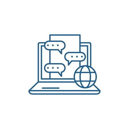 Chat messenger line concept icon. Chat messenger flat  vector website sign, outline symbol, illustration. Illustration