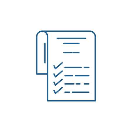 Check list line concept icon. Check list flat  vector website sign, outline symbol, illustration.