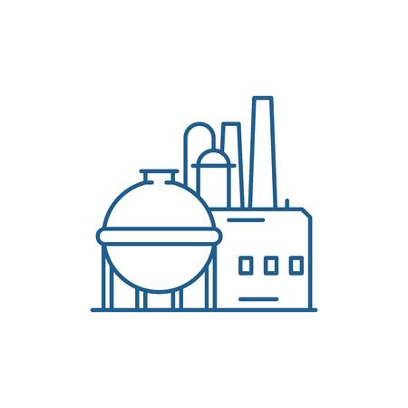 Ikona koncepcja linii fabryki chemicznej. Fabryka chemiczna płaskie wektor stronie internetowej znak, symbol konspektu, ilustracja. Ilustracje wektorowe