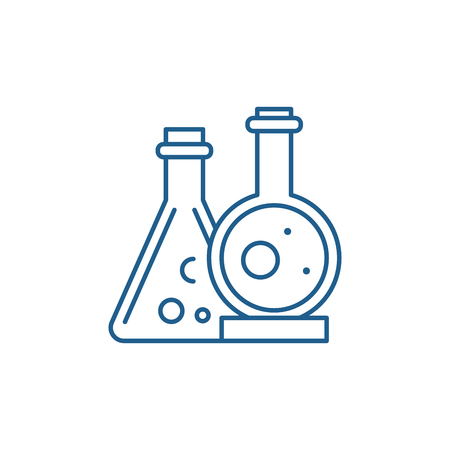 Chemical laboratory line concept icon. Chemical laboratory flat  vector website sign, outline symbol, illustration.