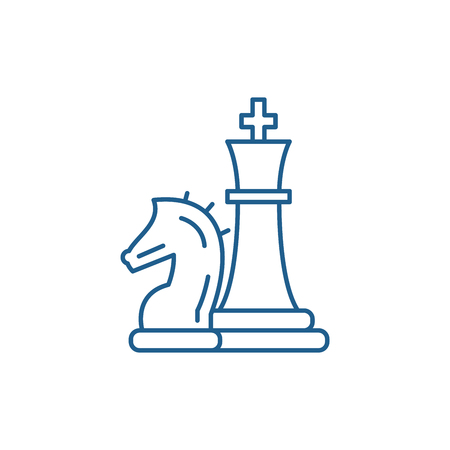 Chess pieces, knight and queen line concept icon. Chess pieces, knight and queen flat  vector website sign, outline symbol, illustration. Illustration