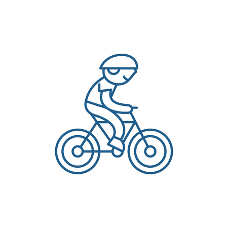 Child riding a bike line concept icon. Child riding a bike flat  vector website sign, outline symbol, illustration. Illusztráció