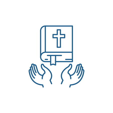 Christian religion line concept icon. Christian religion flat  vector website sign, outline symbol, illustration. Vettoriali