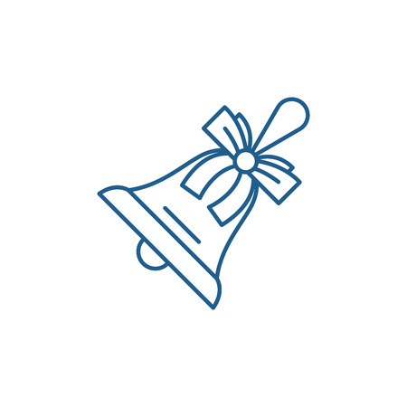 Christmas bell line concept icon. Christmas bell flat  vector website sign, outline symbol, illustration.