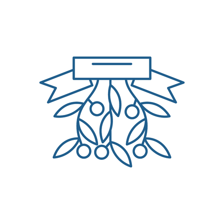 Christmas branch line concept icon. Christmas branch flat  vector website sign, outline symbol, illustration. Standard-Bild - 119917410