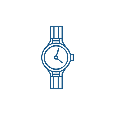 Chronometer line concept icon. Chronometer flat  vector website sign, outline symbol, illustration.