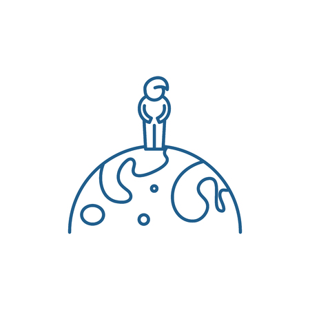 Citizen of the world line concept icon. Citizen of the world flat  vector website sign, outline symbol, illustration.