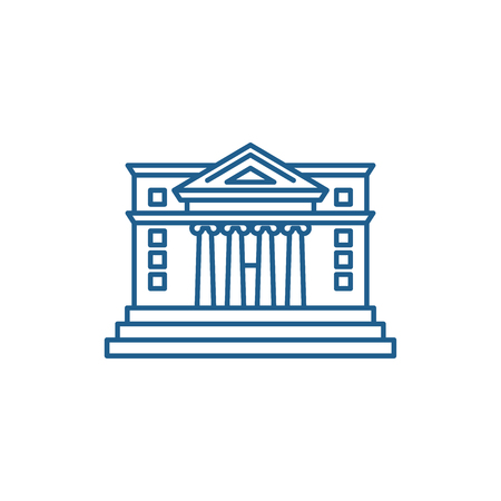 City hall line concept icon. City hall flat  vector website sign, outline symbol, illustration.