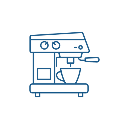 Coffee machine line concept icon. Coffee machine flat  vector website sign, outline symbol, illustration.