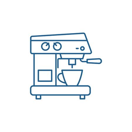 Coffee machine line concept icon. Coffee machine flat  vector website sign, outline symbol, illustration.