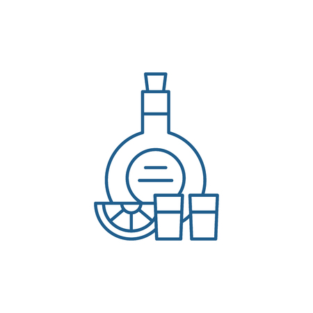 Cognac line concept icon. Cognac flat  vector website sign, outline symbol, illustration. Banco de Imagens - 119917429