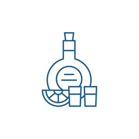 Cognac line concept icon. Cognac flat  vector website sign, outline symbol, illustration. Illustration