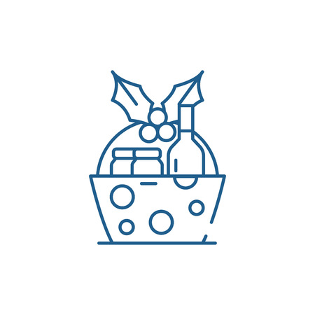 Christmas gift basket line concept icon. Christmas gift basket flat  vector website sign, outline symbol, illustration. Illustration
