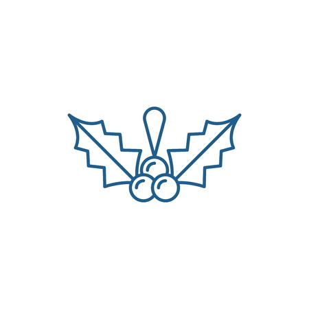 Christmas mistletoe line concept icon. Christmas mistletoe flat  vector website sign, outline symbol, illustration.
