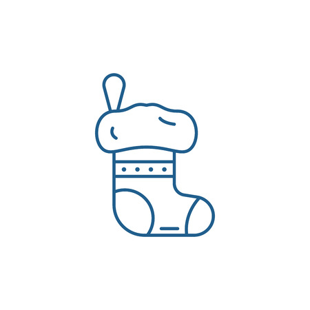 Christmas sock line concept icon. Christmas sock flat  vector website sign, outline symbol, illustration.