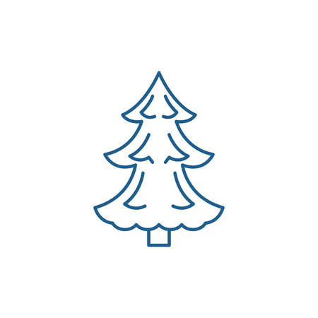 Christmas tree line concept icon. Christmas tree flat  vector website sign, outline symbol, illustration. Banco de Imagens - 119917333