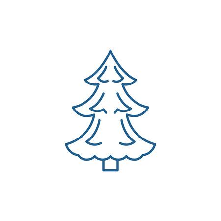 Christmas tree line concept icon. Christmas tree flat  vector website sign, outline symbol, illustration. Illustration