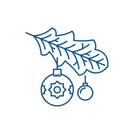 Christmas tree branch line concept icon. Christmas tree branch flat  vector website sign, outline symbol, illustration.