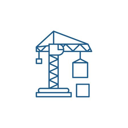 Civil construction crane line concept icon. Civil construction crane flat  vector website sign, outline symbol, illustration. Standard-Bild - 119917235