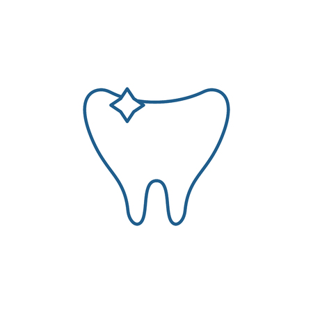Clean tooth line concept icon. Clean tooth flat  vector website sign, outline symbol, illustration.