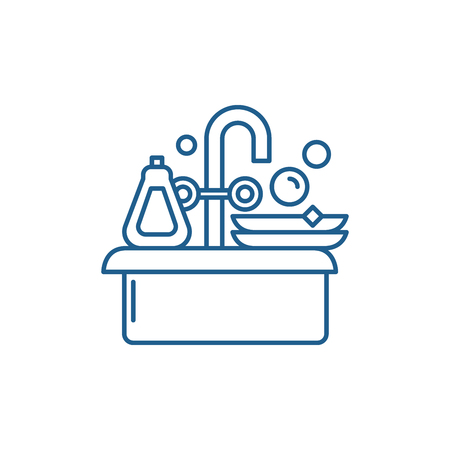 Cleaning dishes line concept icon. Cleaning dishes flat  vector website sign, outline symbol, illustration. Standard-Bild - 119917246
