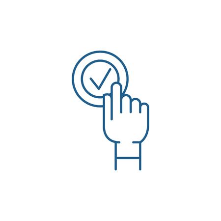 Click click box line concept icon. Click click box flat  vector website sign, outline symbol, illustration.