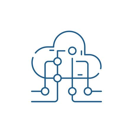 Cloud information technology line concept icon. Cloud information technology flat  vector website sign, outline symbol, illustration.  イラスト・ベクター素材