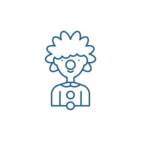 Clown line concept icon. Clown flat  vector website sign, outline symbol, illustration. Foto de archivo - 119917160