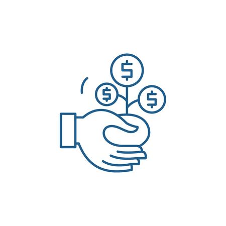 Co financing line concept icon. Co financing flat  vector website sign, outline symbol, illustration. Standard-Bild - 119917166