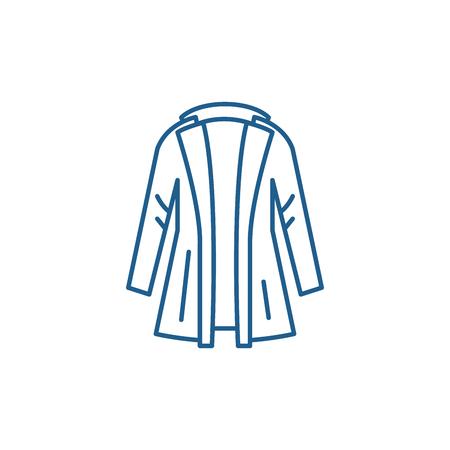 Coat line concept icon. Coat flat  vector website sign, outline symbol, illustration.