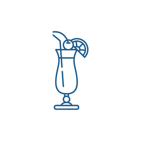 Cocktail on the beach line concept icon. Cocktail on the beach flat  vector website sign, outline symbol, illustration.