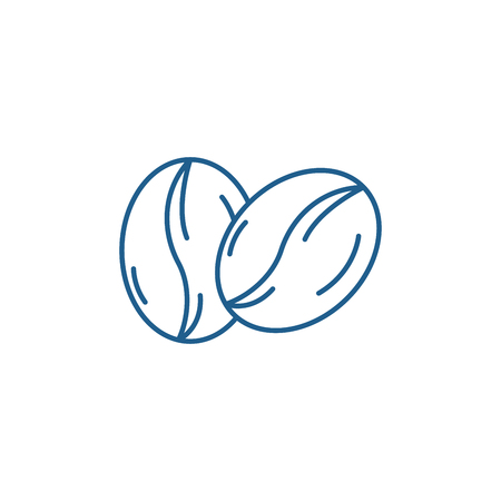 Coffee beans line concept icon. Coffee beans flat  vector website sign, outline symbol, illustration.