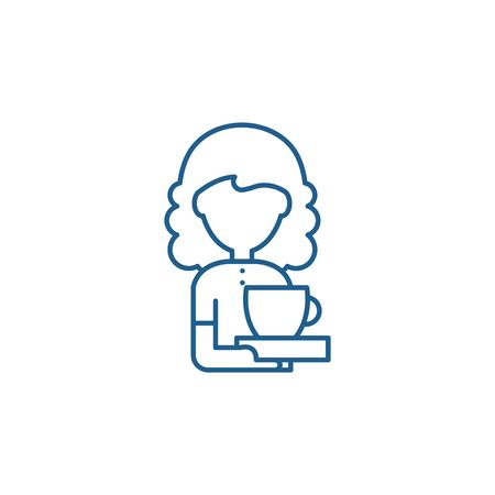 Coffee lover line concept icon. Coffee lover flat  vector website sign, outline symbol, illustration. Standard-Bild - 119917187