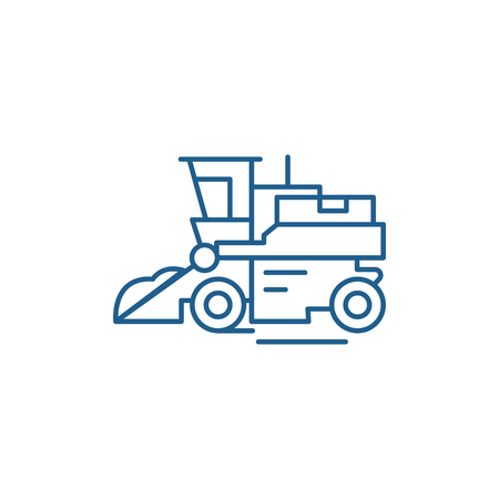 Combine harvester line concept icon. Combine harvester flat  vector website sign, outline symbol, illustration.
