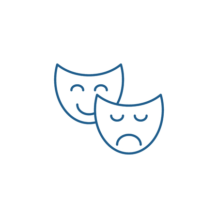 Comedy and tragedy line concept icon. Comedy and tragedy flat  vector website sign, outline symbol, illustration.