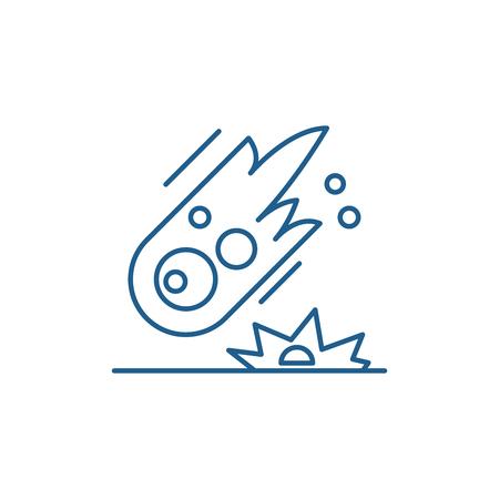 Comet line concept icon. Comet flat  vector website sign, outline symbol, illustration.