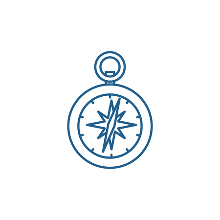 Compass line concept icon. Compass flat  vector website sign, outline symbol, illustration. Ilustração