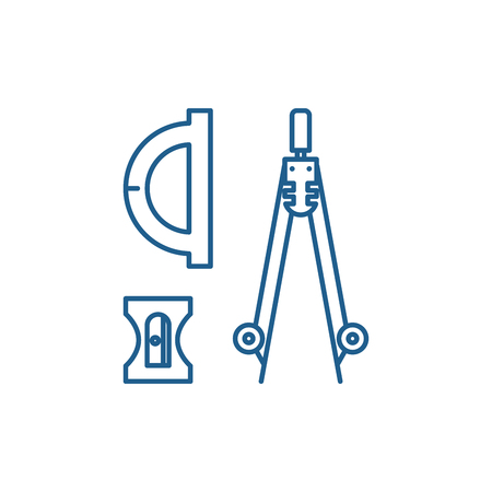 Compass, sharpener, ruler line concept icon. Compass, sharpener, ruler flat  vector website sign, outline symbol, illustration. Standard-Bild - 119917115