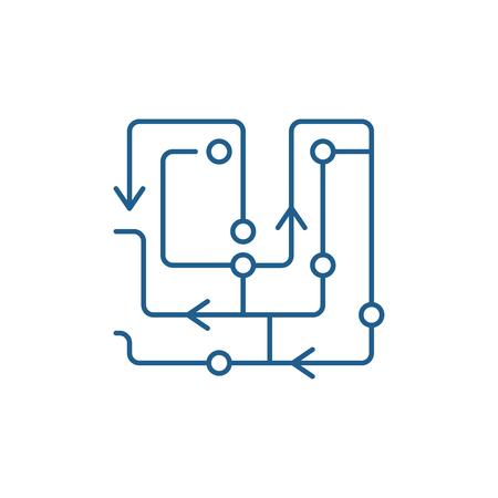 Icône de concept de ligne d'algorithmes informatiques. Algorithmes informatiques vector plate signe de site Web, symbole du contour, illustration. Vecteurs