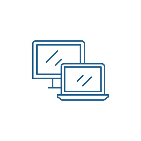Computer and laptop line concept icon. Computer and laptop flat  vector website sign, outline symbol, illustration.