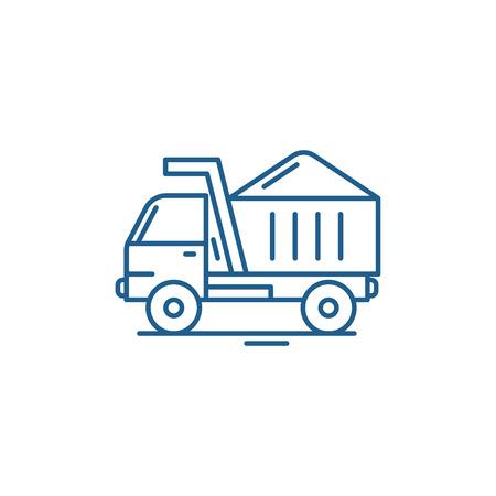 Icône de concept de ligne de machine de construction. Machine de construction vector plate signe site Web, symbole du contour, illustration.