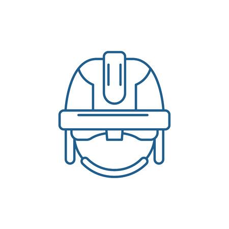Construction mask line concept icon. Construction mask flat  vector website sign, outline symbol, illustration. Ilustração