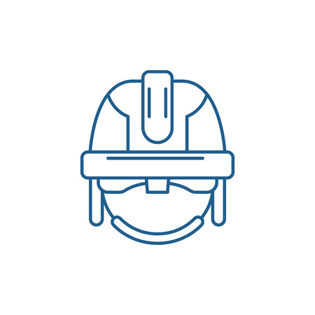 Construction mask line concept icon. Construction mask flat  vector website sign, outline symbol, illustration. Ilustrace