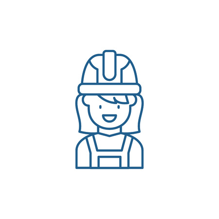 Construction master line concept icon. Construction master flat  vector website sign, outline symbol, illustration. Foto de archivo - 119917017