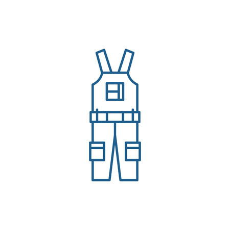 Construction overalls line concept icon. Construction overalls flat  vector website sign, outline symbol, illustration.